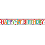 Multi Colour Happy 21st Birthday Holographic Foil Banners 2.7m - 12 PC