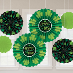 St. Patrick's Day Paper Fan Decorations - 12 PKG/6