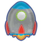 Blast Off Birthday Rocket Ship Shaped Plates 18cm - 12 PKG/8