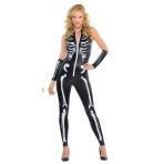 Adults Skeleton Cat suit - Size 10-12 - 1 PC