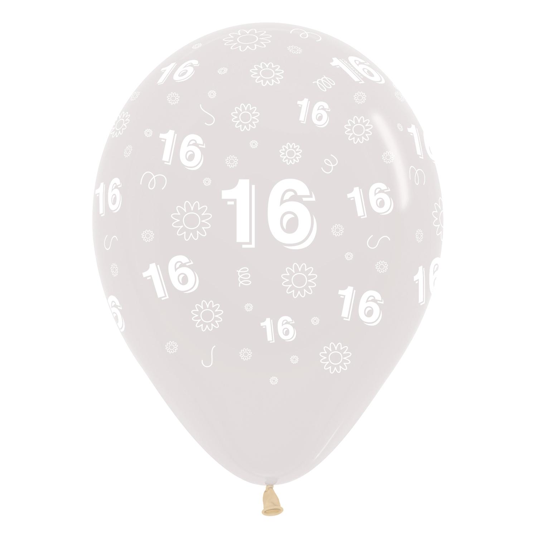 16th Birthday Flowers Clear 390 Latex Balloons 1230cm 25 Pc