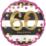 Pink & Gold 60th Birthday Holographic Standard Foil Balloons S40 - 5 PC