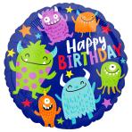 Happy Little Monsters Birthday Standard HX Foil Balloons S40 - 5 PC
