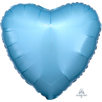 Metallic Pearl Pastel Blue Heart Standard Packaged Foil Balloons S15 - 5 PC