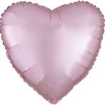 Pastel Pink Heart Satin Luxe Standard HX Packaged Foil Balloons S15 - 5 PC