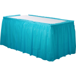 Caribbean Blue Plastic Table Skirts 4.26m x 73cm- 6 PC