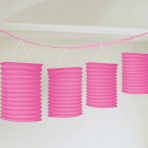Bright Pink Paper Lantern Garlands 3.65m - 12 PC