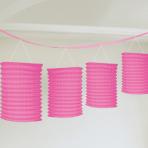 Bright Pink Paper Lantern Garlands 3.65m - 12 PKG