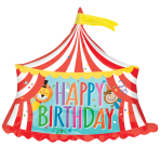 "Happy Birthday Circus Tent SuperShape Foil Balloons 28""/71cm x 28""/71cm P35 - 5 PC"