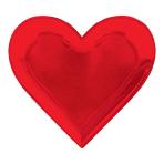 Red Heart Shaped Foil Paper Plates 17.7cm - 12 PKG/8