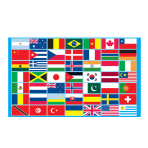 Multi Nations Flag - 1.5m x 91cm - 5ft x 3ft  - 6 PKG