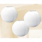 White Paper Lanterns 24cm - 6 PKG/3