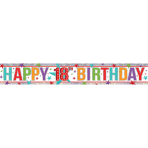 Multi Colour Happy 18th Birthday Holographic Foil Banners 2.7m - 12 PC