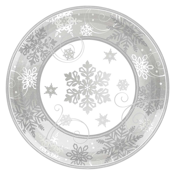 Sparkling Snowflake Silver Christmas Party Metallic Paper