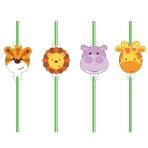 Jungle Friends Plastic Straws - 6 PKG/8