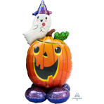 "Pumpkin & Ghost AirLoonz Large Foil Balloons 28""/71cm x 56""/142cm P70 - 3 PC"