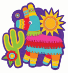 Fiesta Pinata Cut-outs 33cm - 12 PC
