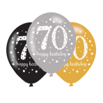 "Gold Sparkling Celebration Happy 70th Birthday Latex Balloons 11""/27.5cm - 6 PKG/6"
