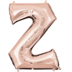 Letter Z Rose Gold SuperShape Foil Balloons 25/63cm w x 33/83cm h P50 - 5 PC