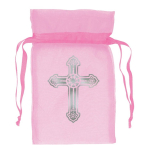 Pink Organza Bag with Crosses 8.8cm - 12 PKG/12