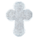 White Large Tinsel Cross - 6 PKG