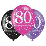"Pink Sparkling Celebration 80th Birthday Latex Balloons 11""/27.5cm - 6PKG/6"