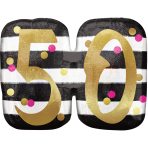 """Pink & Gold 50th Birthday Holographic SuperShape Foil Balloons 25""""/63cm x 20""""/50cm P40 - 5 PC"""
