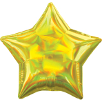 Yellow Iridescent Star Standard HX Packaged Foil Balloons S40 - 5 PC