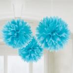 Caribbean Blue Paper Fluffy Decorations 40cm - 6 PKG/3