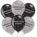 """Congrats Graduate Grey/Black Latex Balloons 11""""/27.5cm - 10PKG/6"""
