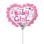 Baby Girl Heart with Ruffle Mini Shape Foil Balloons A30 - 5 PC