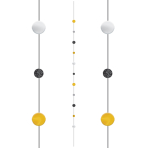 Black/Gold/Silver Balloon Fun Strings 1.82m - 6 PC