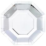 Metallic Silver Octagonal Plates 23cm - 6 PKG/8