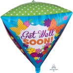 """Get Well Butterfly Garden - Diamondz Foil Balloons -15""""/38cm w x 17""""/43cm h - G20 - 5 PC"""