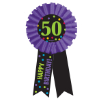 50th Birthday Award Ribbons - 6 PC