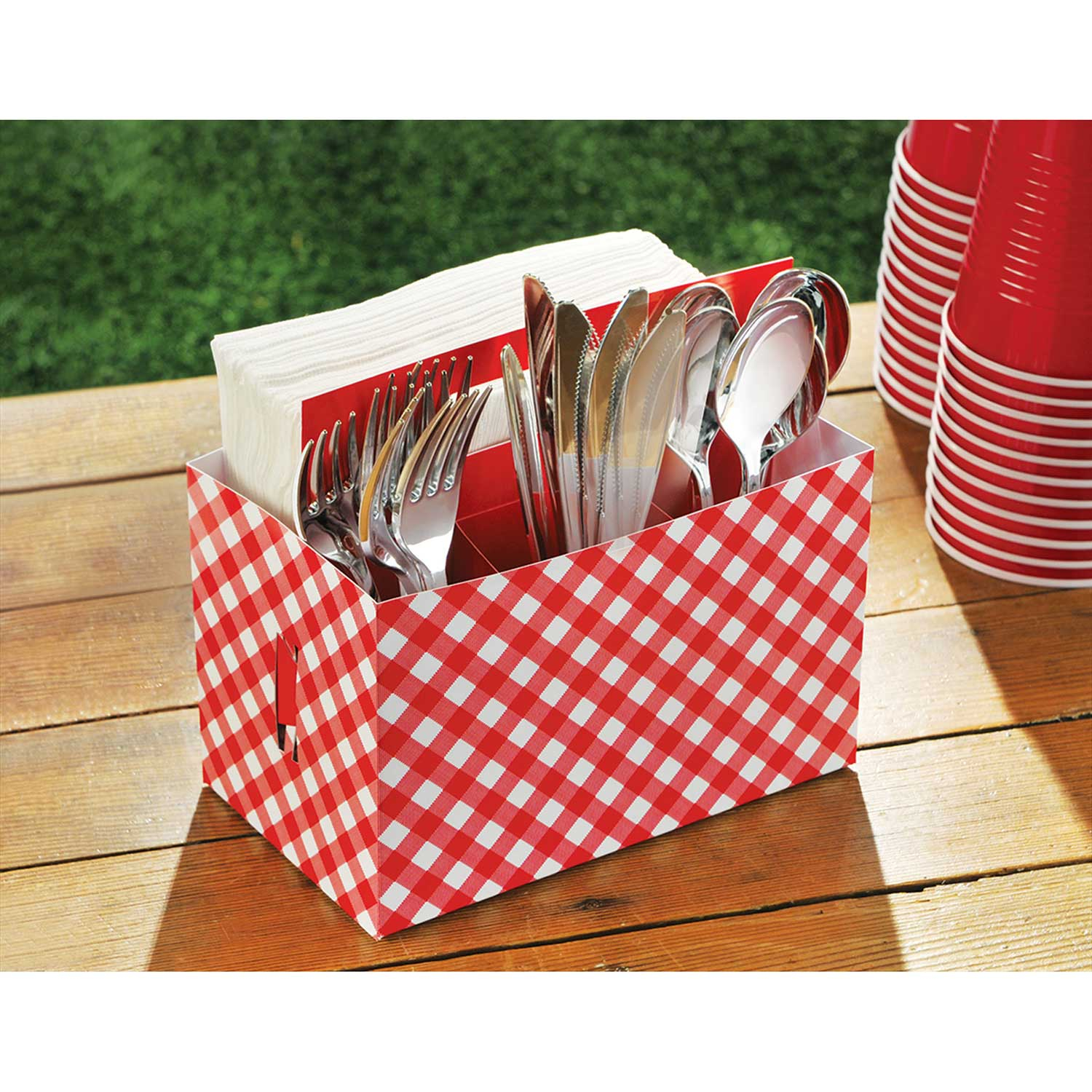 Rote karierte picnic party karton utensilien teedose ebay for Party utensilien