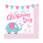 On your Christening Day Pink Luncheon Napkins 33cm - 6 PKG/16