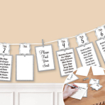 Silver Seating Chart Garland 3.65m - 6 PC