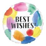Best Wishes! Painted Swoosh Standard HX Foil Balloons S40 - 5 PC