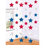 USA Star String Decorations  - 2.1m - 12 PKG/6