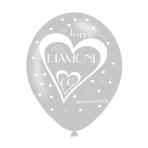 "Diamond 60th Anniversary Latex Balloons 11""/27.5cm - 10 PKG/6"
