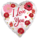 Love You Flowers Satin Luxe Standard Foil Balloons S40 - 5 PC