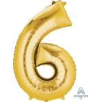 """Number 6 Gold SuperShape Foil Balloons 23""""/58cm w x 35""""/88cm h P50 - 5 PC"""