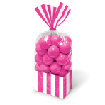 Bright Pink Candy Buffet Striped Party Bags - 24 PKG/10