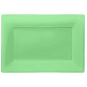 Kiwi Green Plastic Serving Platters - 6 PKG/3