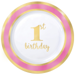1st Birthday Girl Pink Border Metallic Plastic Plates 19cm - 6 PKG/10