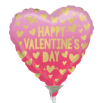 Happy Valentine's Day Pink Ombre Mini Foil Balloons A15 - 5 PC
