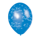 Confirmation Blue Latex Balloons - (All Over Print) - 27.5cm - 6 PKG/25