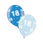 "18th Birthday Rich Blue & Icy Blue Printed Latex Balloons 11""/27.5cm - 25 PC"