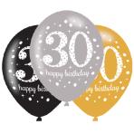 """Gold Sparkling Celebration 30th Latex Balloons 21""""/27cm - 6 PKG/6"""